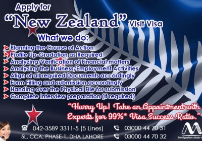 Apply New Zealand Visit Visa Through our Senior Experts…