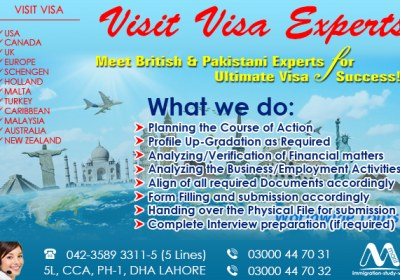 Best Worldwide Visit Visa Consultants, Meet British & Pakistani Experts..