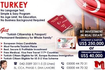 Get Turkish Passport through our British & Pakistani Expert…